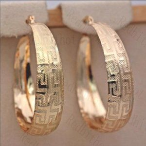 **18K Gold Finish Design Hoop  Earrings
